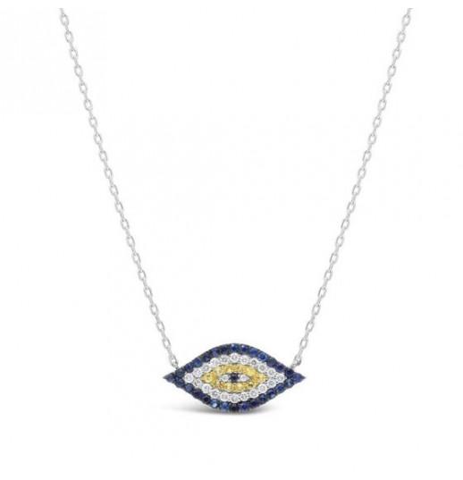 Sapphire Evil Eye Necklace