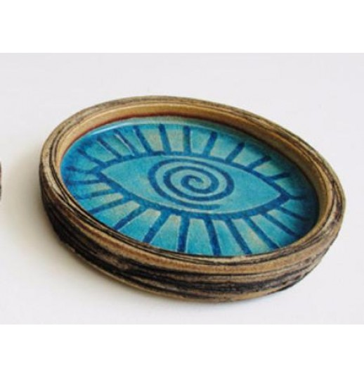 blue ceramic ashtray