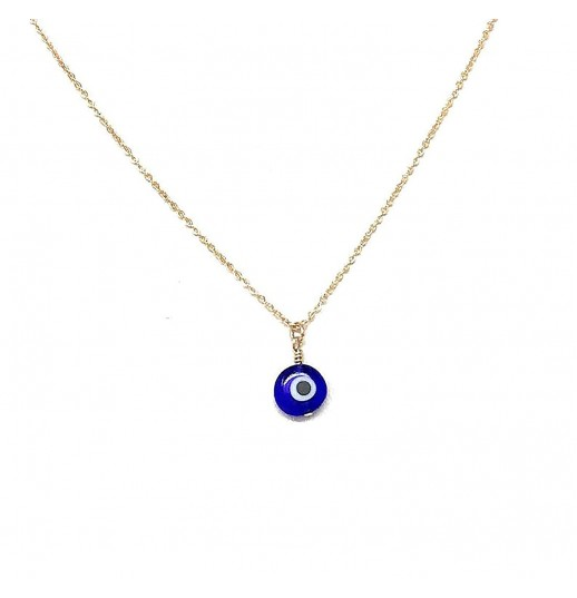 Blue Evil Eye Necklace Rhodium-Plated and Gold-Plated